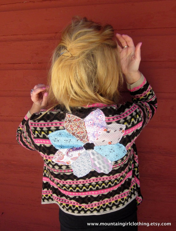 Lady Dreamer Native Pattern Waterfall Front Sweater with Patchwork Star Applique by MountainGirlClothing