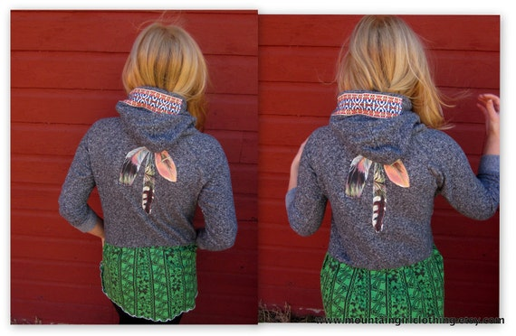 Upcycled Recycled Lady Dream Catcher Feather Print and Vintage Fabric Babydoll Hoodie by MountainGirlClothing