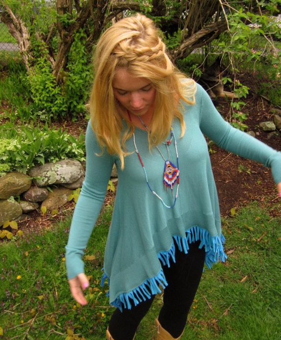 Blue Lady Dream Catcher Feather Applique Fringe Tent Trapeze Long Sleeve Top Size Small/Medium By MountainGirlClothing