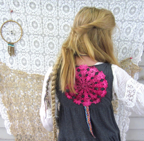 Vermont Weekend Upcycled Babydoll Vest with Vintage Trim and Crochet Applique Tiered Ruffle by MountainGirlClothing