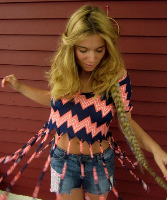 Upcycled Chevron Missoni  Zig Zag Pattern Braided Fringe Open Back Shirt Top by Mountain Girl Clothing