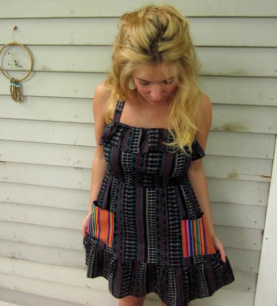 Tribal Print Smocked Waist Ruffle Halter Vintage Woven Guitar Strap Trim Sun Dress Size Small by MountainGirlClothing