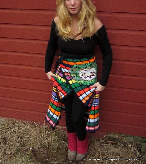 Boho Princess Upcycled Vintage Colorful Crochet Blanket Long Wrap Skirt with Crochet Mandala Small-Large