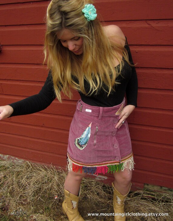 Dark Pink Corduroy Lady Dreamcatcher Feather Applique Skirt with Rainbow Fringe Size 4
