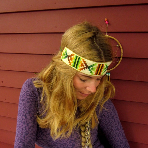 Native Tribal Earthy Browns and Greens Vintage Trim Summer Bohemian Hippie Headband by Mountain Girl Clothing
