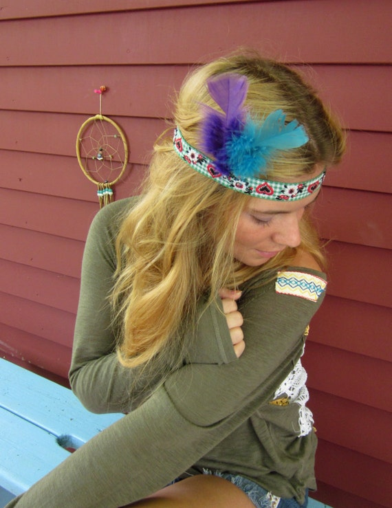 Feathers Hearts Flowers Vintage Trim Bohemian Hippie Headband with Braided Ties by Mountain Girl Clothing