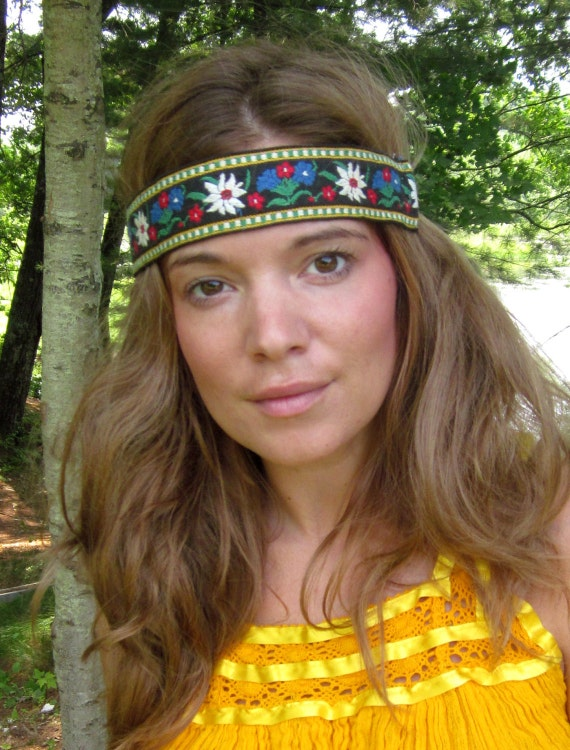 Woven Vintage Floral Trim Summer Bohemian Hippie Boho Headband Wrap with Suede Ties by Mountain Girl Clothing