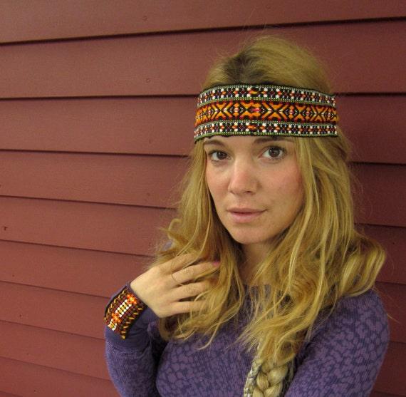 Woven Vintage Guitar Strap Trim Summer Bohemian Hippie Headband by Mountain Girl Clothing