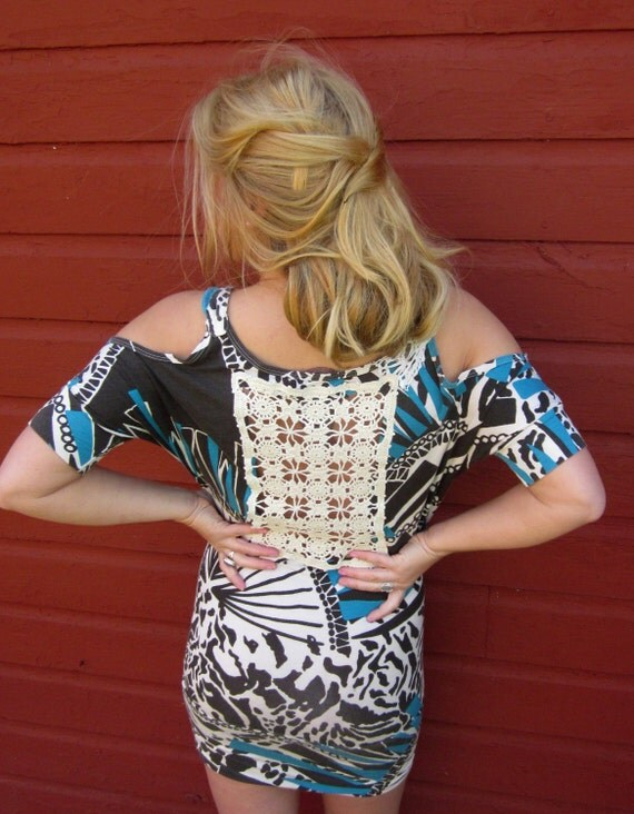 Cold Shoulder Wild In Love Crochet Cut Out Back Upcycled Mini Dress by MountainGirlClothing