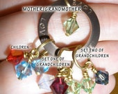 Grandmother Birthstone Necklace Up to 12 Swarovski Crystal Birthstones in Bronze