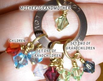 Grandmother Birthstone Necklace Up to 13 Swarovski Crystal Birthstones in Bronze