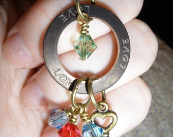 Mother Mom Brag Necklace up to 6 Swarovski Crystal Birthstones in Bronze