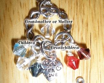 Grandmother Birthstone Necklace Up to 15 Swarovski Crystal Birthstones S. Pl.