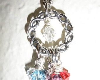 Mother Birthstone Necklace Up to 8 Swarovski Crystal Birthstones