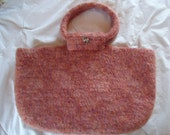 Purple and Pink Felted Crochet Bag with Deer Buttons