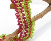Beadwoven Bracelet - Poppy Fields - green, red, lacy weave, original design