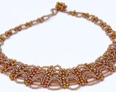 Beadweaving Lacy Necklace - Laced Honey - brown, metal free, seed beads