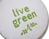 Live green modern cross stitch