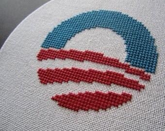 Obama modern cross stitch