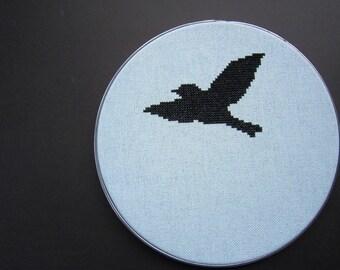 Bird in flight modern cross stitch pattern