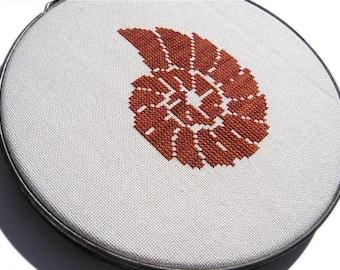 Nautilus shell modern cross stitch
