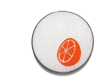 Citrus modern cross stitch pattern