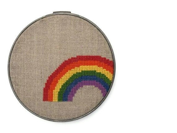 Rainbow modern cross stitch pattern