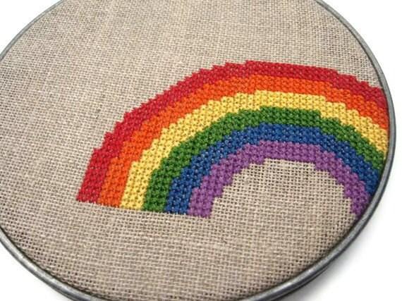 Rainbow modern cross stitch