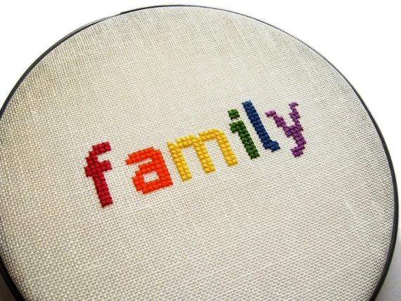 Family modern cross stitch
