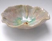 Poppy Bowl hand built bowl  ceramic bowl pottery Cloud Gray  Mauve Real Men Love Flowers
