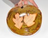 Fallen Leaves 1 maple and 1 oak leaf handmade stoneware tray