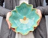 Turquoise  Poppy Bowl hand built stoneware pottery