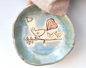 Ceramic bowl bird pottery bowl Blue glaze  mama, daddy  and 3 baby birds Flock of Love