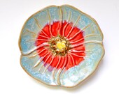 Ceramic ring holder spoon rest tea bag holder hand built stoneware Poppy pottery Ice Crystal Blue and Red
