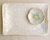 "Modern Ceramic serving tray White platter Hand Built ceramic platter lace pottery 10"""