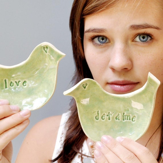 LOVE birds set - Green  with LOVE and JETAIME 2 birds
