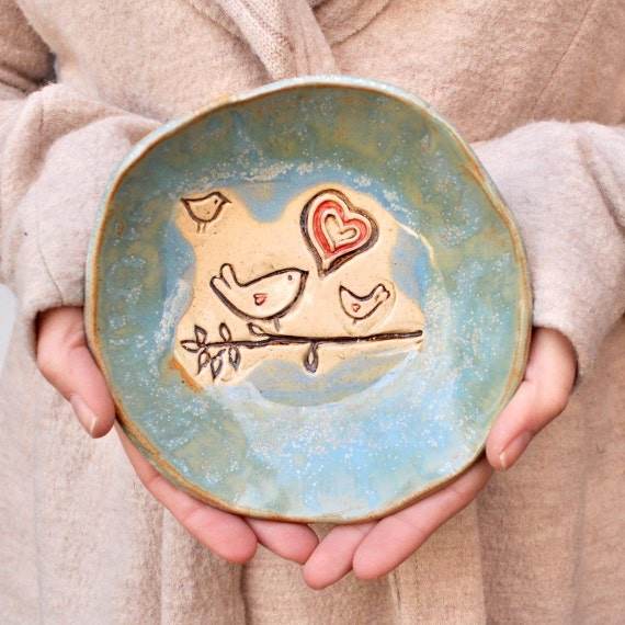 Bird bowl rustic pottery bowl Blue glaze  handmade mama or daddy and 2 baby birds Flock of Love