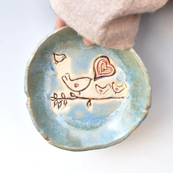 Ceramic bowl bird pottery bowl Blue glaze  mama, daddy  and 3 baby birds Flock of Love