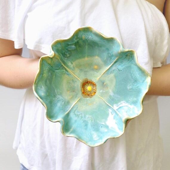 pottery bowl Poppy Bowl  ceramic soup bowl or salad size stoneware pottery Turquoise glaze