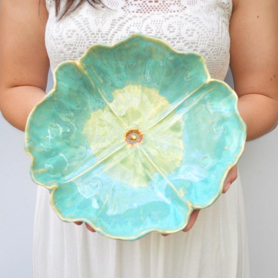 Large Turquoise Poppy Bowl hand built functional stoneware serving platter