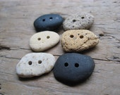 EARTHY BUTTONS Drilled Beach Stones & Brick