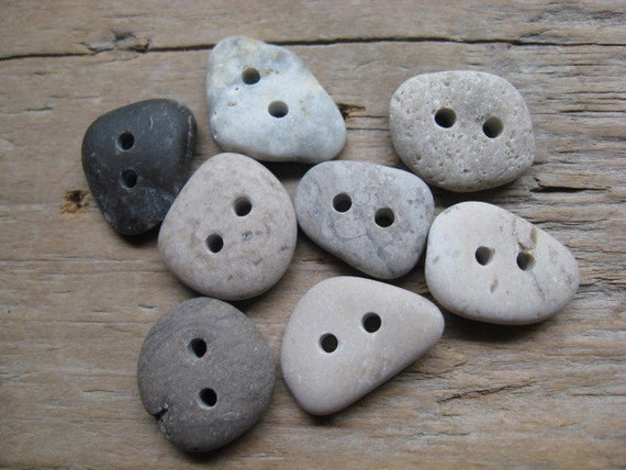 NATURALLY BEAUTIFUL Buttons Drilled Beach Stones
