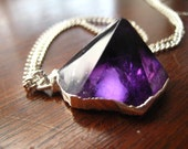 Pyramid Shaped Amethyst Necklace Silver