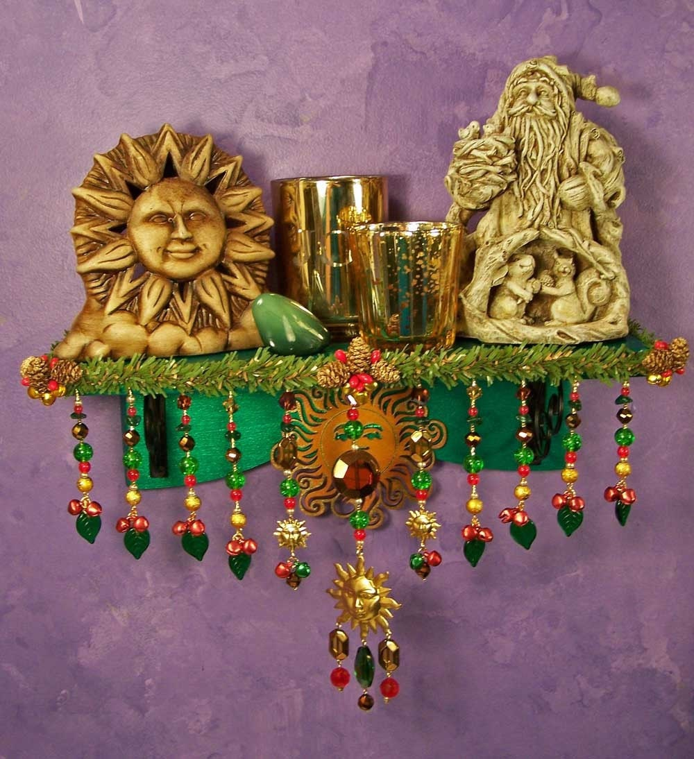 Return of the sun yule wall altar ooak pagan holiday decor for Altar wall decoration