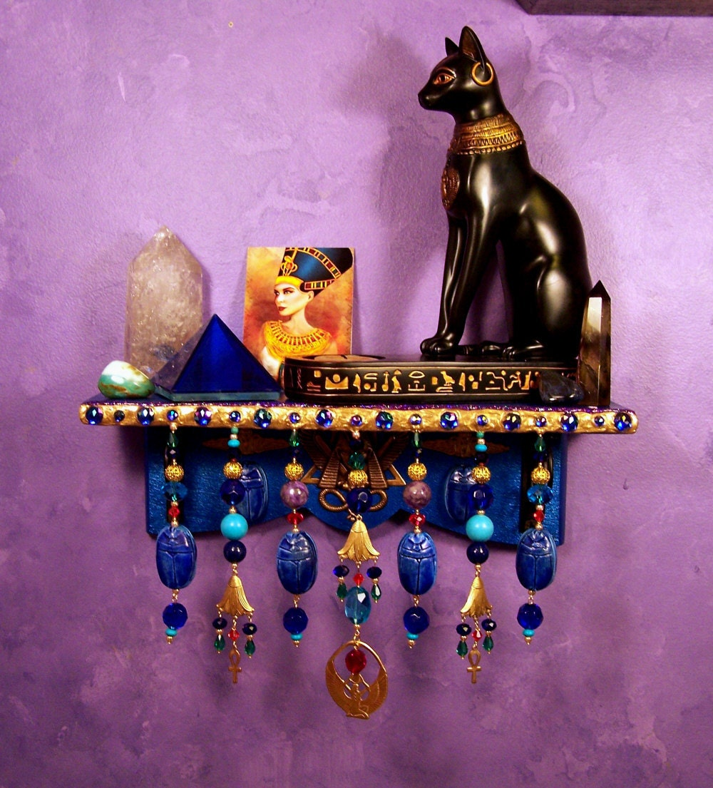 Egyptian wall altar ooak pagan decor for Altar wall decoration