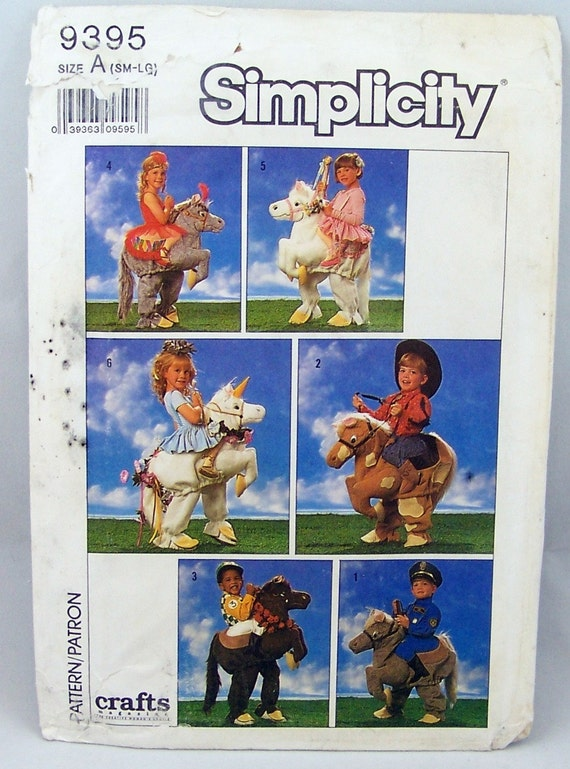Simplicity 9395 Childrens Halloween Costume Decorated Horse Sewing Pattern Size Small-Large 2 - 6X