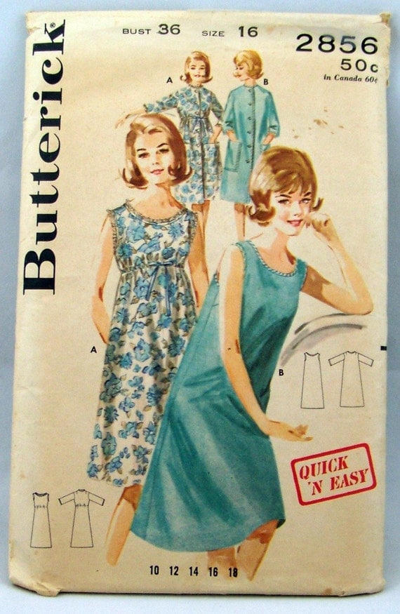 Easy to Make Nightgown and Robe Butterick 2856 Sewing Pattern Size 16  Bust 36