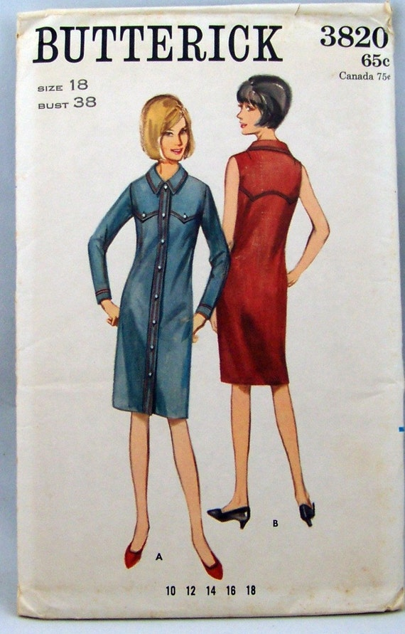 Western style Shirtwaist Dress Vintage Butterick 3820 Sewing Pattern Bust 38 UNCUT