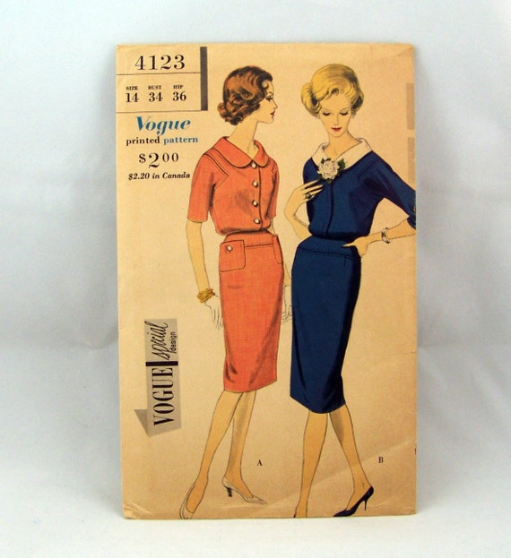 1960 Dress Pattern Vogue Special Design 4123 Dress with stand away collar Sz 14 Bust 34