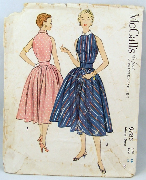 Vintage 1954 McCalls 9783 Full Skirted Dress Halter Top Bodice Size14 Bust 32 Sewing Pattern